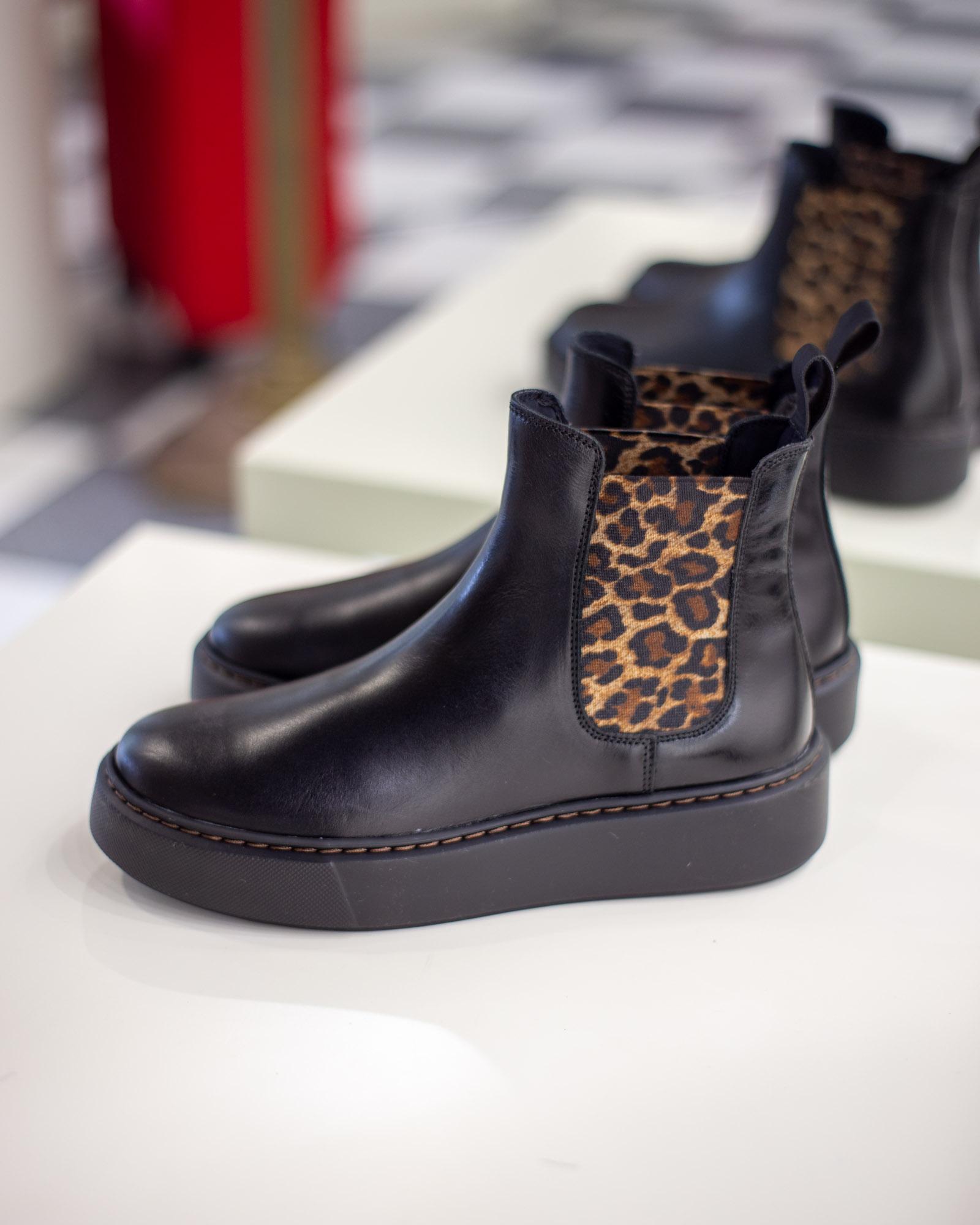 Stivali con inserto leopardato